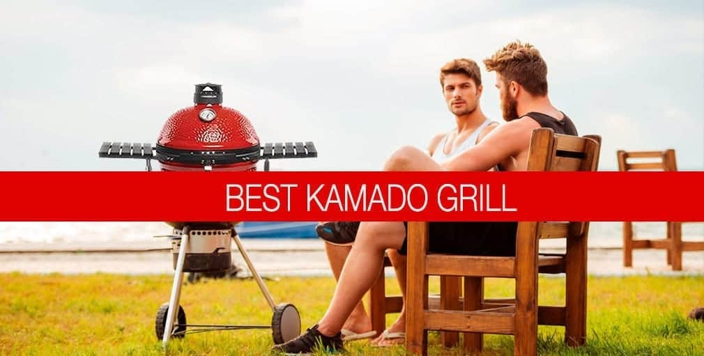 family grilling outside infront of a kamado grill