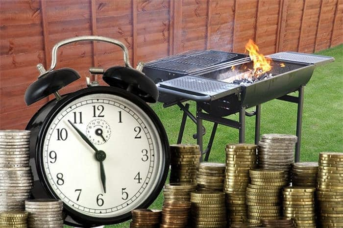 Barbecue grill with a clock