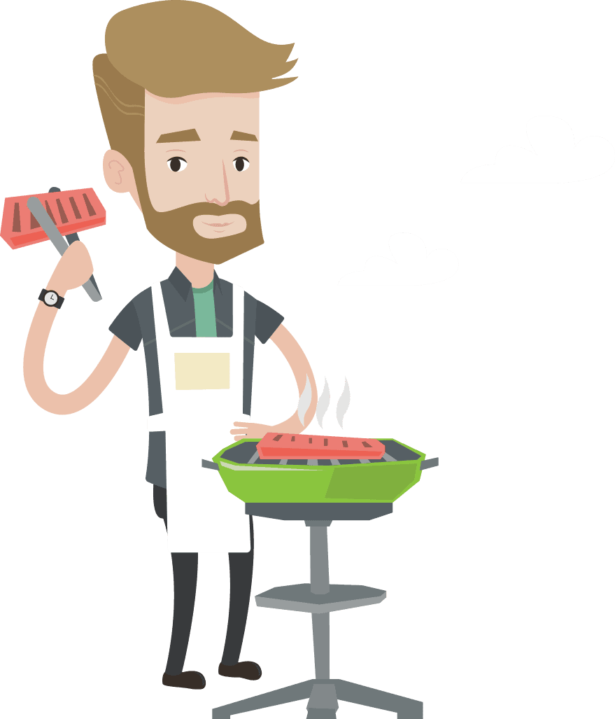 a drawing of a man grilling