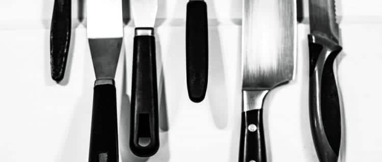various knives in a white background