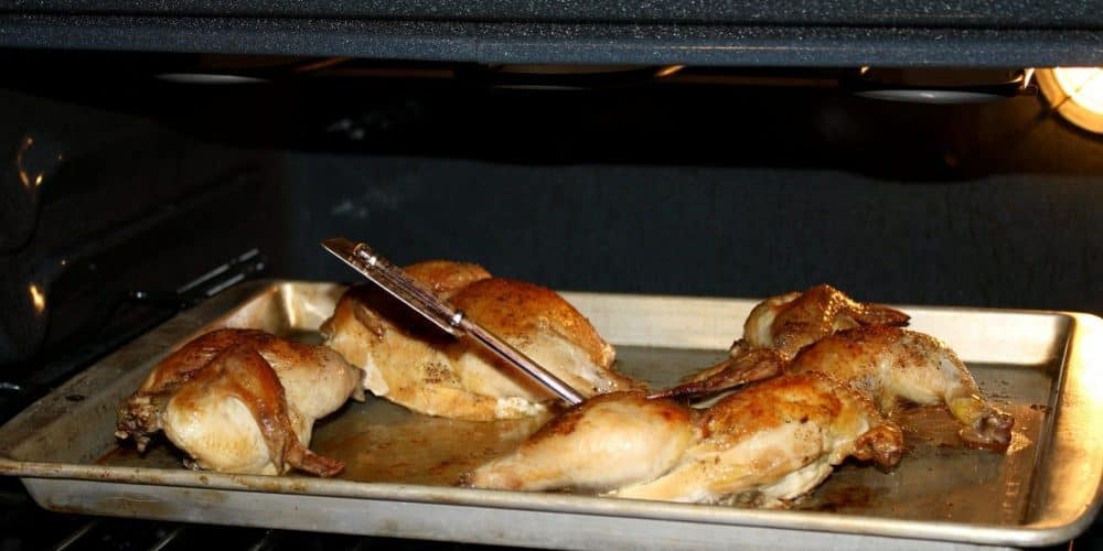 chicken cooking inside an oven with  a grill thermometer