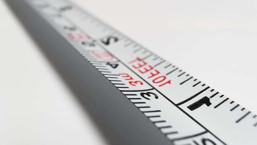 a measurement tape in a white baclground