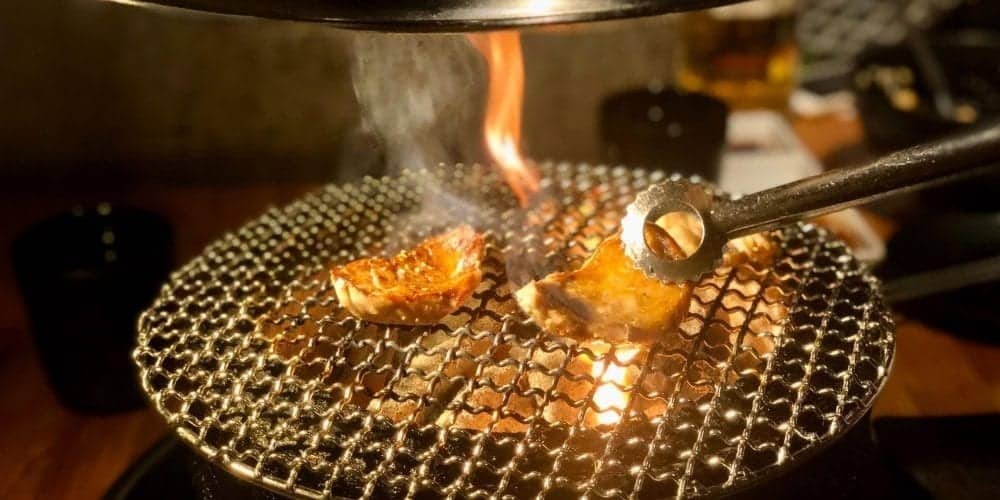 meat being cooked in a tabletop gas grill